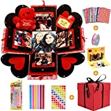 MMTX Caja de Regalo Creative Explosion Box, DIY Álbum de Fotos Scrapbook 5.9x5.9x5.9 Inche Álbum de Fotos de Scrapbooking Caja de Regalo para Cumpleaños Día de San Valentín Aniversario Navidad…