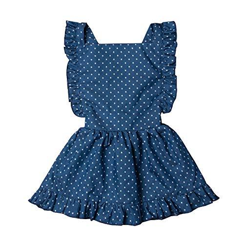 MERSARIPHY Toddler Tutu Dress Infant Sleeveless Vest Skirt Baby Backless Cute Romper for Girl Ruffle Skirt, Ages for 6Mos-5T (Blue, 5-6 T)