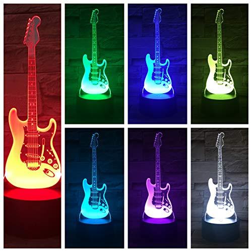 Nur 1 Stück Bassgitarre Tischlampe Nachttisch Multicolor Rgb Jungen Kind Kinder Baby Geschenke Musikinstrument Atmosphäre USB 3D Led Nachtlicht