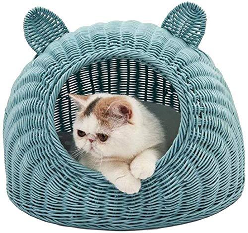 XUIO Katzenhundebett Katzenbett Katzenweide Rattan Nette Katzenohren geformte Wicker Bett Schlafkorb ist das perfekte Schlaf- und Ruhebett