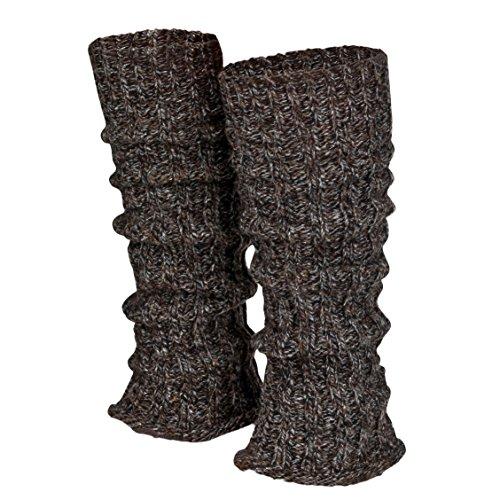 Piarini 1 Paar Grobstrick Stulpen Damen Bein - warme Winter Beinstulpen - One-Size Wolle Multicolour-braun