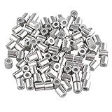 Lot de 100 bagues de sertissage arrondie, en aluminium - Pour câble métallique de 2 mm - Coloris argenté