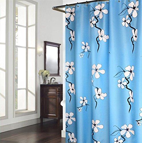 LAundNA Blaue Blumen-Dekor-Ansammlung Polyester-Gewebe-Badezimmer-Duschvorhang Imprägniern Sie & Schimmel-widerstandsfähiges Set mit Haken , 180*180cm