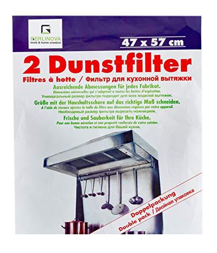Dunstabzugshaube Filter 2 Stück 60 cm (47x57 cm) weiß - Profi Gastronomiequalität - Passt für alle für alle Modelle, zuschneidbar