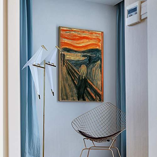 NFXOC Pinturas en Lienzo Famoso Edvard Munch The Scream Posters Abstractos e Imagen de Pared Impresa para la decoración del hogar de la Sala de Estar (80x110cm) Sin Marco