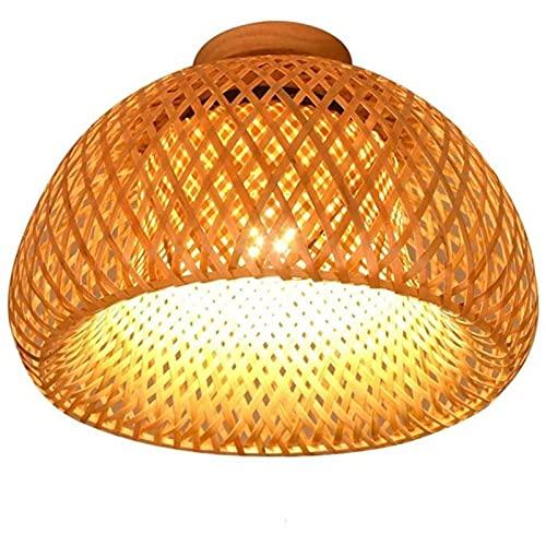Bambus Deckenleuchte Rattan - Laterne kreative Vintage Holz Licht E27 Deckenlampe Runde Bambus Lampenschirm für das SchlafzimmerWohnzimmer Arbeitszimmer Balkon Eingang Gang , 30cm