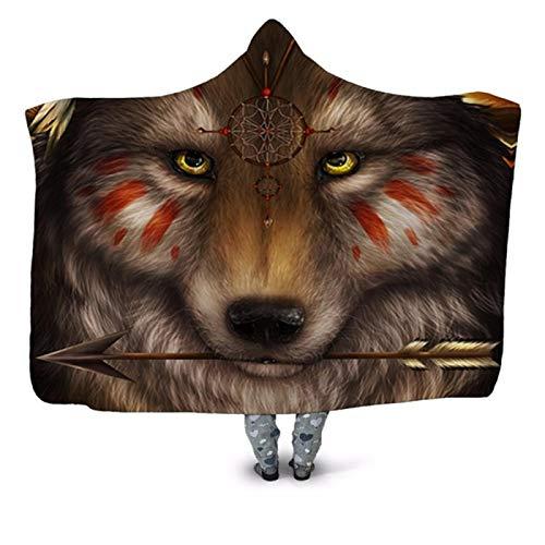 LILANG Manta Warm Arrow Wolf 3D Impreso con Capucha Manta Sofá Edredón Funda Viajes Niños Terciopelo Felpa Manta de Lana 80x120cm