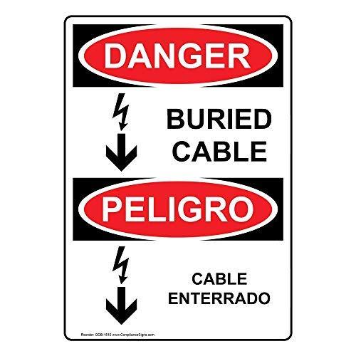 wendana Gevaar Begraven Kabel - Kabel Enterrado Sign, Grappige Tin Metalen Waarschuwingsborden voor Eigendom, Aluminium, Poortteken, Hek Teken Buiten, 8