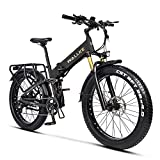W Wallke X3 Pro eBike Folding Fat Tire Electric Bike 26 Inch 750W 48V 14AH Large-capacity Removable Battery Electric Bicycle for Adult Air Full Suspension Premium Seamless Welding Aluminum Alloy Frame