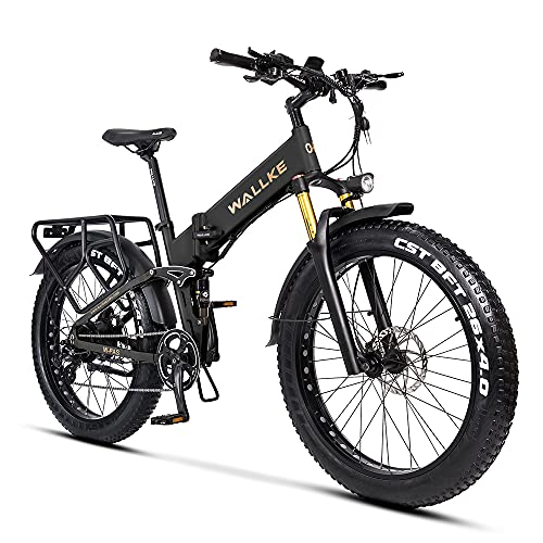 W Wallke X3 Pro Electric Bike Mountain Bike 750W Ebike 26 inch Fat Tire Snow Bicycle, 28MPH Adults Ebike with Removable 48V 14AH Lithium Battery,Professional 8 Speed Gears