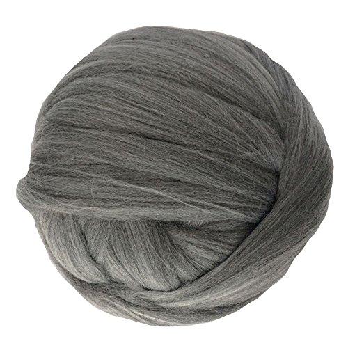 Zituop Super Chunky Yarn Soft Merino Wool Alternative Yarn Bulky Roving for Arm Knitting Blanket, 500g-1.1lb (Dark Grey)