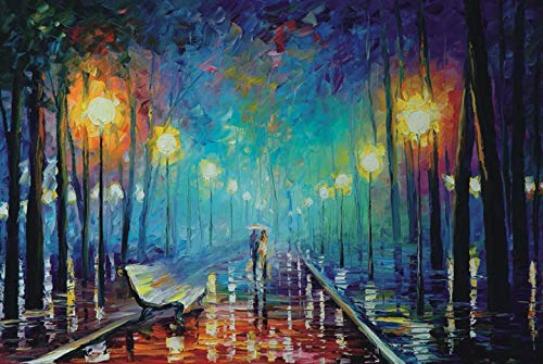 Moruska Jigsaw Puzzles for Adults 1000 Piece- Rainy Night Walk Puzzle- Famous Fine Art Puzzle for Adults 1000 Piece Wooden Jigsaw Puzzle