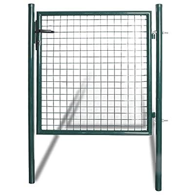 """Festnight Outdoor Door Garden Fence Gate with Spear Top Green Heavy Duty Steel Door Fence Practical Barrier Wall with 3 Keys (39"""" x 59"""")"""