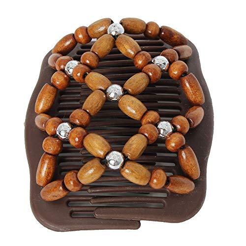 JUSTFOX - Trend African Hairclip Haarklammer Haarkamm Blüten Holzdesign Butterfly Braun