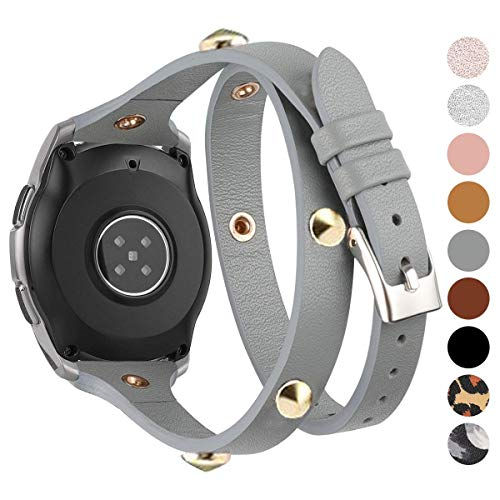 Moolia 20mm Leather Band Compatible for Samsung Galaxy Watch 42mm / Watch 3 41mm / Active 40mm / Active 2 (40mm/44mm), Slim Double Tour Strap Wristband for Samsung Gear S2 Classic (Gray)