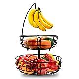 2 Stöckig Obstkorb Metall Draht - mit Bananenhalter, zeitgemäße Obstschale Gemüsekorb, Stehend Täglicher Küche Lagerung Früchtekorb (Schwarz)
