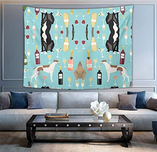 Tapiz multiusos de moda para colgar en la pared con zombi verde para sala de estar, dormitorio, decoración del hogar, galgos y vino