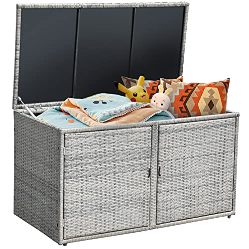 Giantex Rattan Deck Box Outdoor&Indoor 88 Gallon Wicker Storage Bench W Separate Storage Shelf, Openable Door, Toys and Tools Storage for Patio,Garden, Balcony, Porch, Yard Rattan Storage Box (Gray)