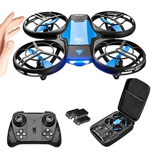 l b s Drones RC con cámara 720P Drones para niños Drone Flying Toy Quadcopter Drone con función de control de voz 3 modos de control Protección de seguridad 360° 2 baterías (color: naranja) (azul)