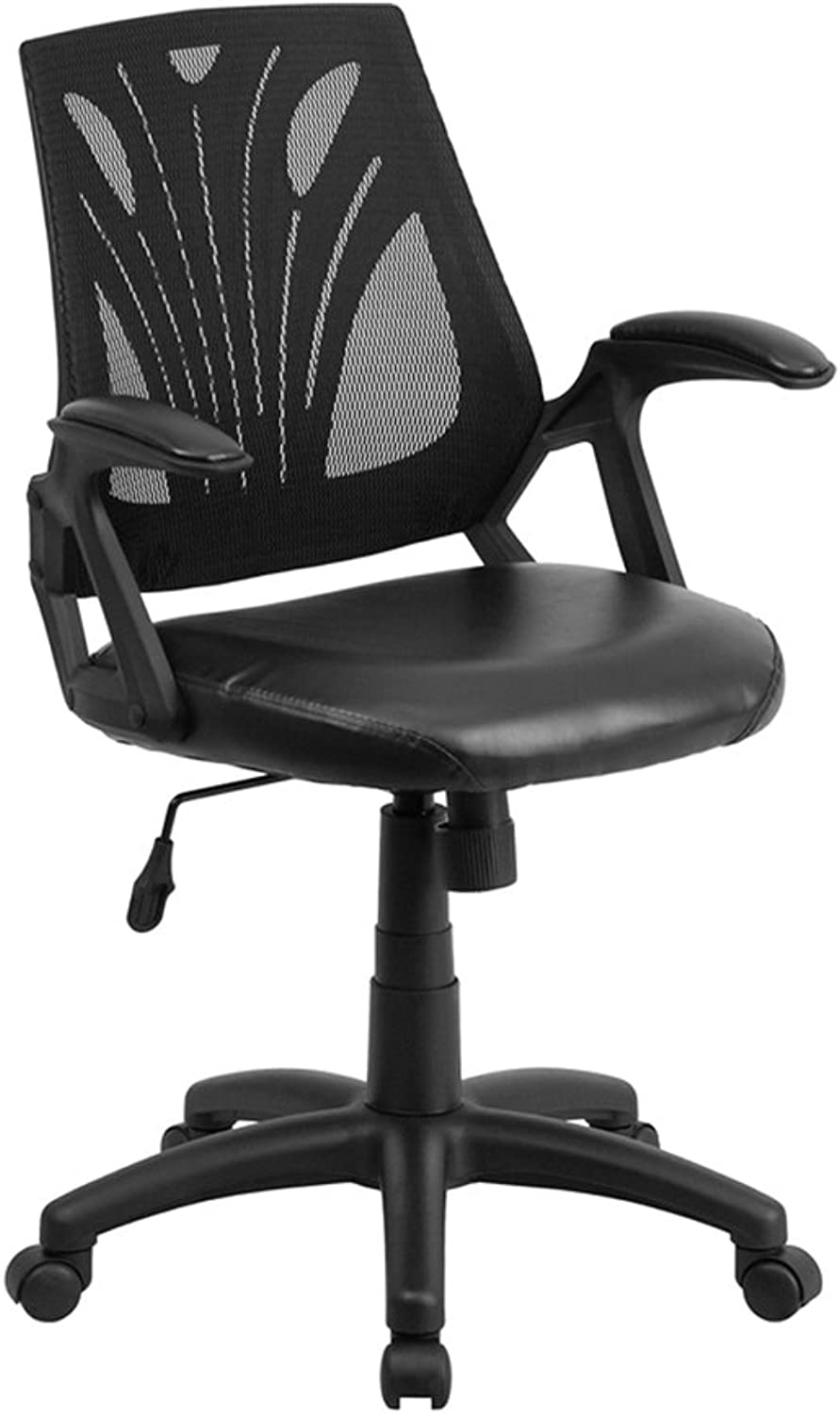 Offex OF-GO-WY-82-LEA-GG Mid-Back Black Mesh Chair with Leather Seat