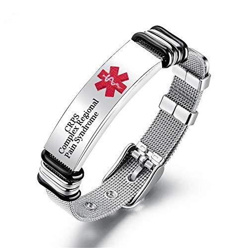 LiFashion Free Custom Gravur Durable Damen Herren Edelstahl Medical Alert Disease Awareness Armband einstellbar Notfall ID Armreif für Erwachsene,Kinder