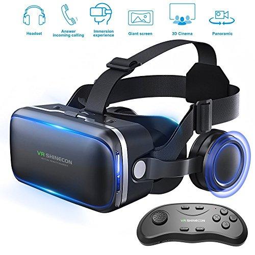 Gafas de realidad virtual 3D con auriculares para juegos de realidad virtual y películas en 3D de Honggu Shinecon, paquete con mando a distancia