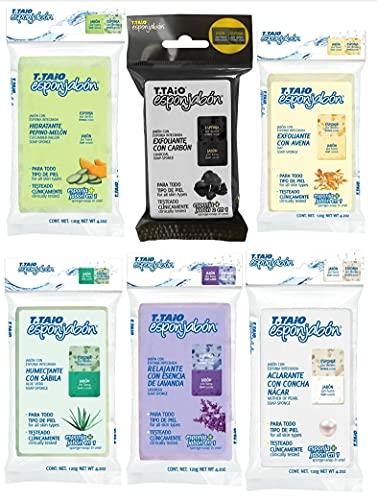 T.TAIO Esponjabon Lot de 6 variétés de nacre, aloe vera, lavande, charbon, concombre melon, flocons d'avoine