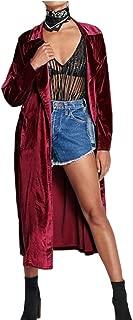 M&S&W Women Lapel Long Cardigan Coat Long Sleeve Loose Windbreaker