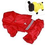 Xiaoyu chaqueta impermeable para perro de mascota con chubasquero impermeable y tiras reflectantes de seguridad ajustables para perro, rojo, XS