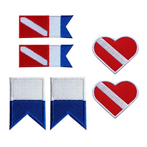 IPOTCH 6 Unidades Insignia Parche Diseño Bandera de Buceo para Costura de Ropa, Decoración de Traje de Natación Buceo Esnórquel