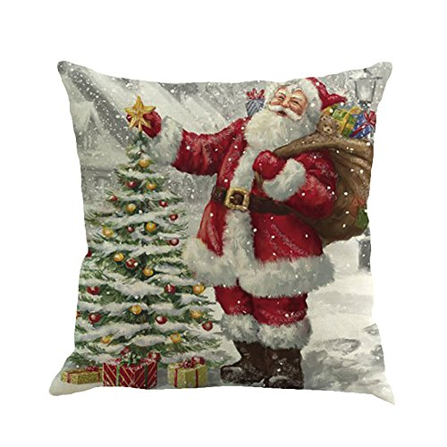 ZOUMOOL - Funda de Almohada Decorativa para sofá o Almohada, diseño navideño de Papá Noel con Motivos navideños, E, 1 Pieza