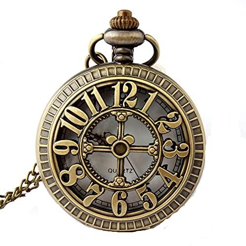 Vintage Bronce Hueco Cruz y Reloj de Bolsillo Digital Steampunk Collar Colgante Reloj de Bolsillo para Hombres y Mujeres