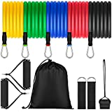 UOON Exercise Resistance Bands, Fitness Bands Set with 5 Fitness Tubes, 2 Hand Grips, 5 Door Anchor, Ankle Straps, Carrying Pouch - Yoga Pilates Workout Fitness Equipment for Men Women