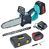 8' Mini Handheld Chain saw, Portable 18V Cordless Electric Chainsaw with 2pcs 5000mAh Battery, 2pcs Chainsaw Chain, Suitable for Garden, Branch, Wood Cutting and Pruning