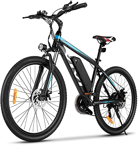 VIVI Electric Bike, 26' Electric Mountain Bike, 350W Ebike, Electric Bikes for Adults with Removable 10.4Ah Lithium-ion Battery, Professional 21 Speed Gears (Blue)