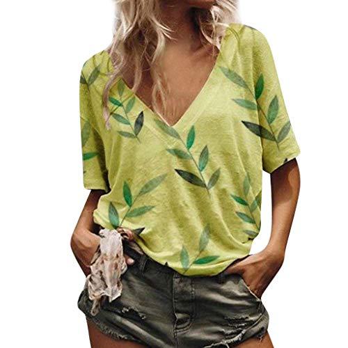Fantastic Prices! Oliviavan Women's Loose Leisure Leaf Printed Tops V-Collar Short Sleeve T-Shirt in...