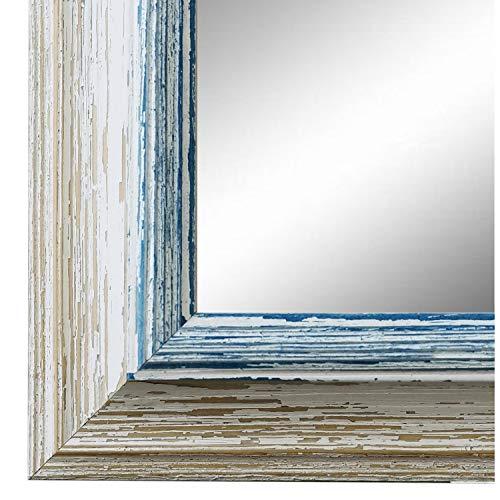 Online Galerie Bingold Wandspiegel Spiegel Badspiegel - Bari 4,2 - Weiß Blau - 40 x 60 - Außenmaß inkl. Massivholz-Rahmen - viele Größen verfügbar - Modern, Barock, Antik, Vintage
