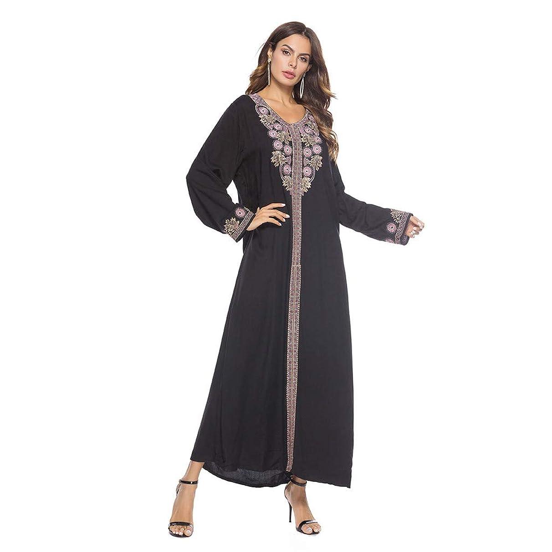 Muslim Dress for Women Summer Casual Loose Fit Embroidery Long Sleeve V-neck Arab Dress Islam Elegant Jilbab Maxi Dress (XXXL, Black)