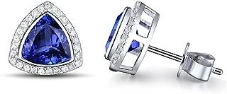 14K White Yellow Gold Genuine Tanzanite Diamond Dangle Drop Earrings Studs for Women Ladies Engagement Wedding