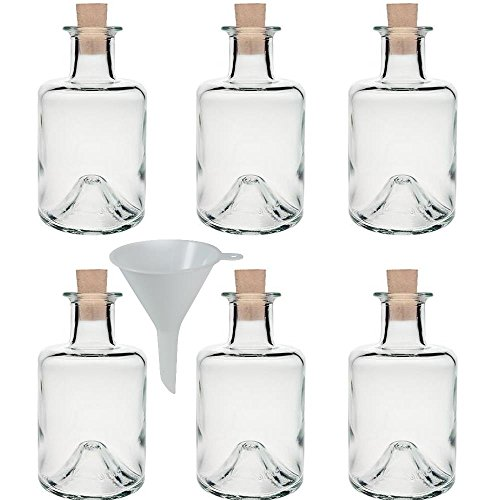 6 x Apothekerflasche 200 ml Glasflasche mit Korken inkl. Trichter