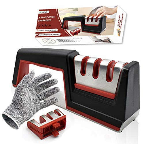 Knife Sharpener,DOXILA 3-Stage Kitchen Knife Sharpener which Can Change The Grindstone,Helps Repair Restore and Polish Blades and Cut Resistant Glove