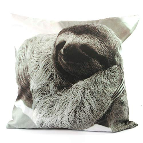 THE SCARF GIRAFFE Black & White Animal Photograph Cushion Cover with insert. Stag/Reindeer, Sloth, Highland Cow and Llama (Sloth)