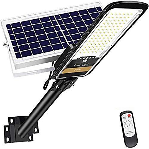 LEDMO 80W Solarlampen für außen,Solar Straßenlaterne mit Fernbedienung für Straßenbeleuchtung, Basketball court, Außenparkplatz 6000K IP66