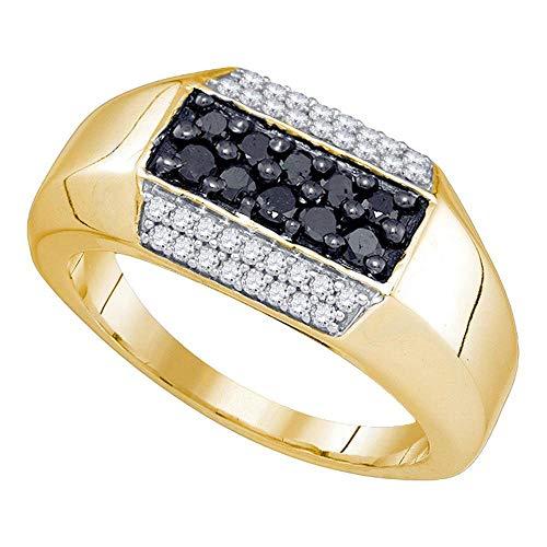 Jewels By Lux Hombre 10 quilates Oro amarillo de 10 quilates round-shape Black Diamante negro