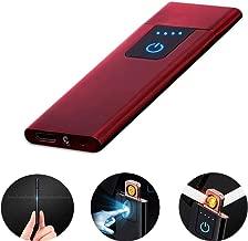 LayOPO - Mechero Recargable USB con Huella Dactilar, 0,15 Pulgadas, Ultrafino, portátil, eléctrico, Resistente al Viento, Encendedor de Plasma sin Llama para Cigarrillos, Velas