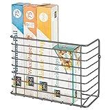 mDesign Farmhouse Metal Wire Wall & Cabinet Door Mount Kitchen Storage Organizer Basket Rack - Mount to Walls and Cabinet Doors in Kitchen, Pantry, and Under Sink - Graphite Gray