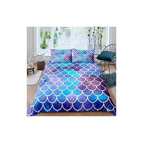 Juego de funda de edredón con diseño de escamas de pescado para niños, niñas, adolescentes, juego de ropa de cama impresa con tutui, bonita ropa de cama suave con fundas de almohada, cremallera azul