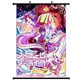 Yovvin No Game No Life Rollbild Kakemono aus Stoff Poster,