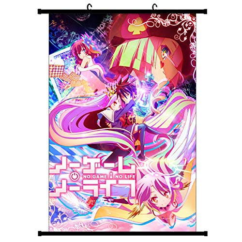 Yovvin No Hay Juegos sin Vida Volumen de Fotos Kakemono Tela Poster, Anime Pared de Arte (Estilo 02,30 x 45 cm)