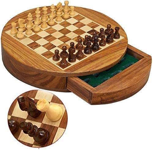 HEZHANG Schach-Set-Spiele Reise-Erwachsene Kinder-Board Tragbare Magnetische Schach-Set Mit Lagerfähigem Hölzernem Runden Schachbrett Schachbrett Und 32 Handgefertigten Schachfiguren,Groß